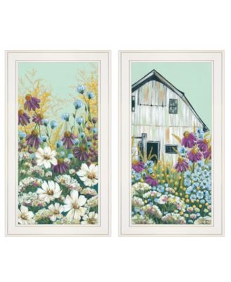 """Floral Field 2-Piece Vignette by Michele Norman, White Frame, 15"""" x 27"""""""