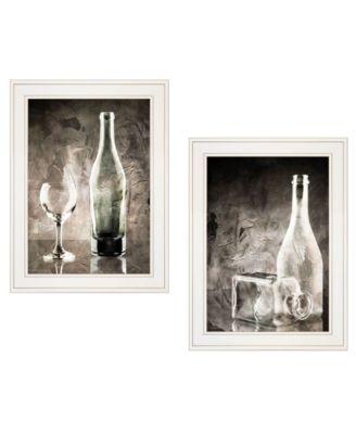 "Moody Gray Glassware Still Life 2-Piece Vignette by Bluebird Barn, White Frame, 15"" x 19"""