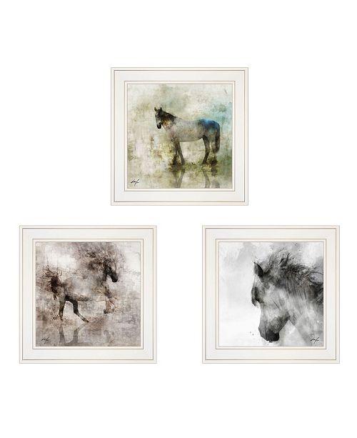 "Trendy Decor 4U Trendy Decor 4U White Horse Run I 3-Piece Vignette by Ken Roko, White Frame, 15"" x 15"""
