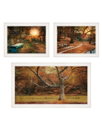 """Tranquil Spaces 3-Piece Vignette by Robin-Lee Vieira, White Frame, 32"""" x 18"""""""