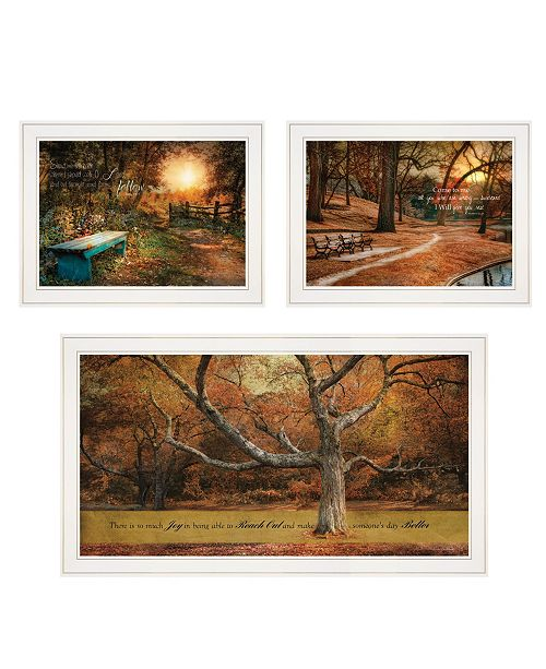 "Trendy Decor 4U Trendy Decor 4U Tranquil Spaces 3-Piece Vignette by Robin-Lee Vieira, White Frame, 32"" x 18"""