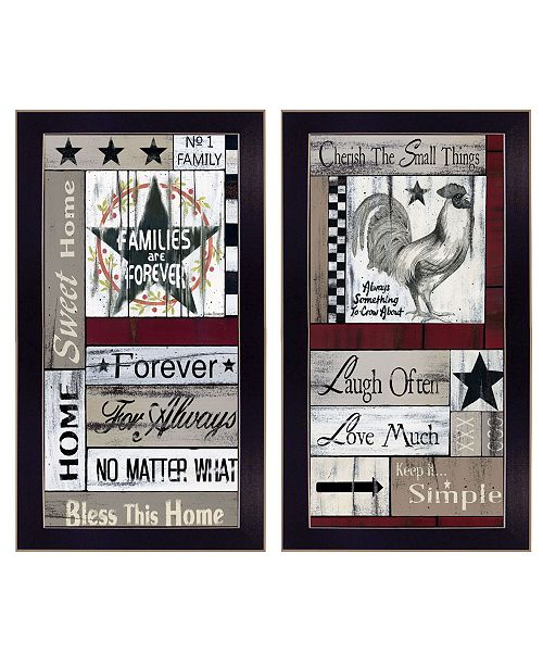 "Trendy Decor 4U Trendy Decor 4U Family Wisdom Cherish The Small things 2-Piece Vignette by Linda Spivery, Black Frame, 11"" x 20"""