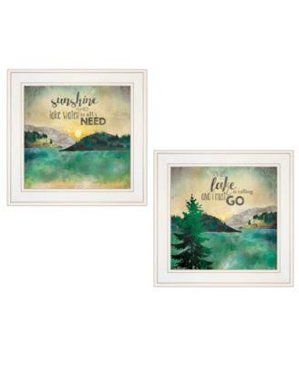 "Lake / Sunshine 2-Piece Vignette by Marla Rae, White Frame, 15"" x 19"""