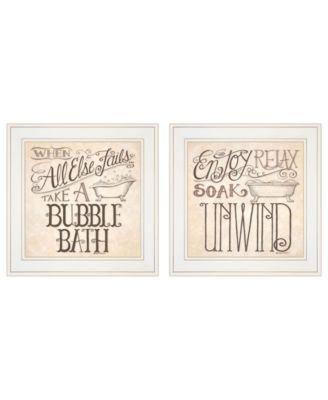 """Soak Unwind 2-Piece Vignette by Deb Strain, White Frame, 15"""" x 15"""""""