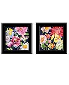 "Navy English Garden I II 2-Piece Vignette by Barb Tourtillotte, Black Frame, 15"" x 15"""
