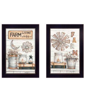 "Farm Living 2-Piece Vignette by Mary Ann June, Black Frame, 14"" x 20"""