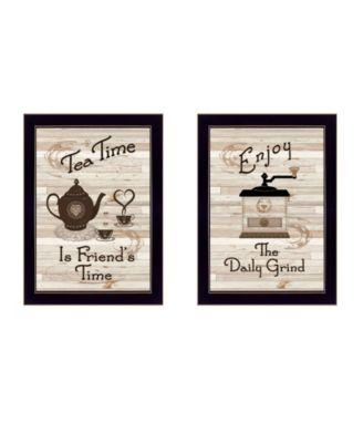 "Enjoy Tea Time 2-Piece Vignette by Millwork Engineering, Black Frame, 14"" x 10"""