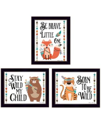 """Be Brave Little One Collection By Susan Boyer, Printed Wall Art, Ready to hang, Black Frame, 18"""" x 14"""""""