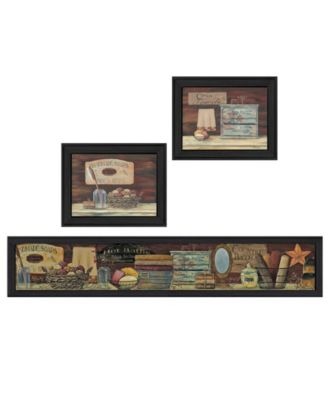 """Country Bath II Collection By Pam Britton, Printed Wall Art, Ready to hang, Black Frame, 67"""" x 17"""""""