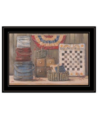 God Bless America by Pam Britton, Ready to hang Framed Print, Black Frame, 19