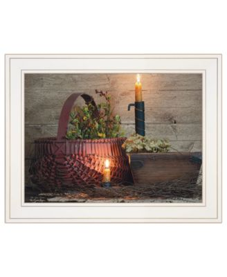 """The Red Basket by Susie Boyer, Ready to hang Framed Print, White Frame, 19"""" x 15"""""""