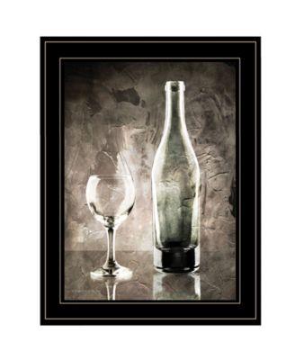 "Moody Gray Wine Glass Still Life by Bluebird Barn, Ready to hang Framed Print, Black Frame, 15"" x 19"""