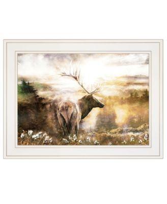 "Heading Home-Elk by Bluebird Barn, Ready to hang Framed Print, White Frame, 19"" x 15"""