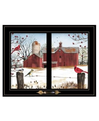 """Winter Friends by Billy Jacobs, Ready to hang Framed Print, Black Window-Style Frame, 19"""" x 15"""""""