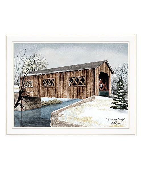 "Trendy Decor 4U Trendy Decor 4U The Kissing Bridge by Billy Jacobs, Ready to hang Framed Print, White Frame, 27"" x 21"""