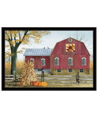 """Autumn Leaf Quilt Block Barn by Billy Jacobs, Ready to hang Framed Print, Black Frame, 38"""" x 26"""""""