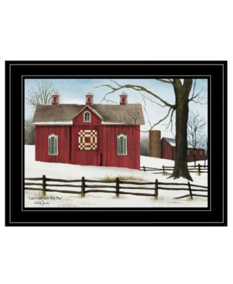 """Lover's Knot Quilt Block Barn by Billy Jacobs, Ready to hang Framed Print, Black Frame, 19"""" x 15"""""""