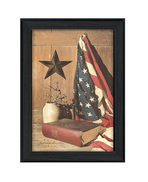"Trendy Decor 4U Trendy Decor 4U God and Country By Billy Jacobs, Printed Wall Art, Ready to hang, Black Frame, 15"" x 21"""