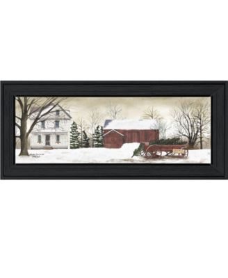 """Christmas Trees for Sale By Billy Jacobs, Printed Wall Art, Ready to hang, Black Frame, 9"""" x 21"""""""