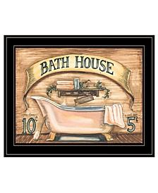 "Trendy Decor 4U Bath House by Becca Barton, Ready to hang Framed Print, Black Frame, 13"" x 11"""