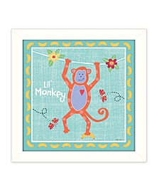 """Beetle and Bob Baby Monkey By Annie LaPoint, Printed Wall Art, Ready to hang, White Frame, 14"""" x 14"""""""