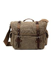 Silver-Tone Road Canvas Messenger Bag