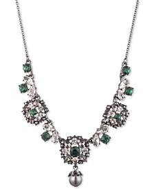 "Hematite-Tone Crystal & Imitation Pearl Lariat Necklace, 16"" + 3"" extender"