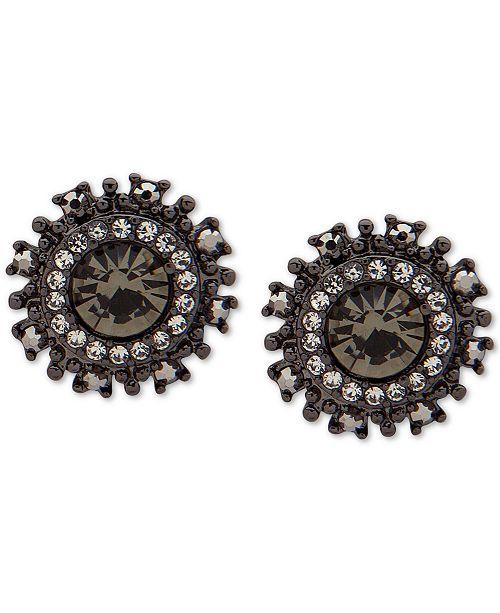 Marchesa Hematite-Tone Crystal Button Earrings