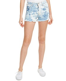 Juniors' Acid-Wash Raw-Edged High-Rise Denim Shorts