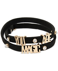 "Gold-Tone Crystal ""You Are Magic"" Faux-Leather Wrap Bracelet"