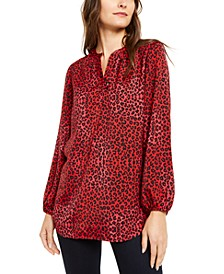 Petite Printed Split-Neck Bishop-Sleeve Top