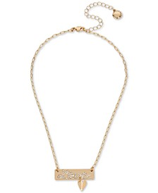 "Gold-Tone Pavé ""Love"" Bar & Heart Charm Pendant Necklace, 15"" + 3"" extender"