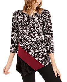 Printed & Velvet Asymmetrical Top, Created For Macy's