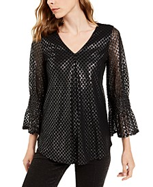 Metallic-Print Smocked-Sleeve Top, Created For Macy's