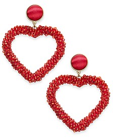 INC Gold-Tone Beaded Heart Drop Earrings, Created For Macy's