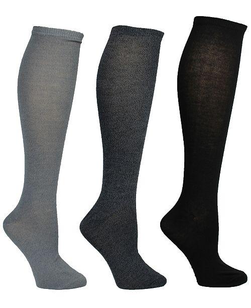 Steve Madden Women's 3 Pack Marled & Solid Knee High Sock, Online Only