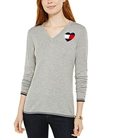 Cotton Logo-Heart Sweater
