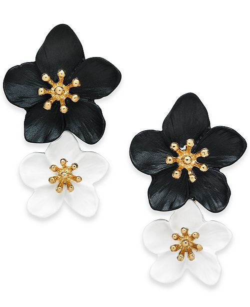 INC International Concepts INC Gold-Tone Double Flower Drop Earrings, Created For Macy's