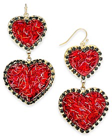 INC Gold-Tone Resin Heart Double Drop Earrings, Created For Macy's