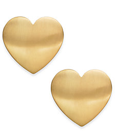 INC Gold-Tone Large Heart Stud Earrings, Created for Macy's