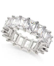 INC Silver-Tone Crystal Baguette Statement Ring, Created for Macy's