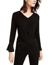 Petite Metallic Striped Knot-Front Top, Created For Macy's