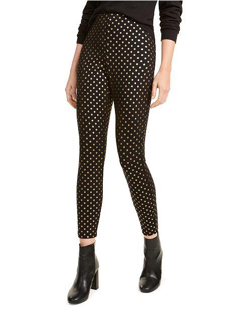 Maison Jules Metallic-Print Ponté-Knit Pants, Created For Macy's