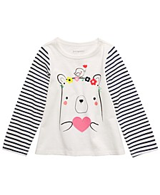 Baby Girls Cotton Striped Bear T-Shirt, Created For Macy's