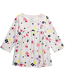 Baby Girls Cotton Long-Sleeve Floral-Print Tunic, Created For Macy's