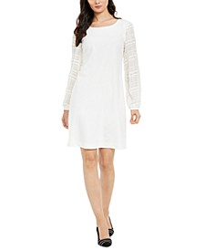 Textured-Sleeve Shift Dress, Created For Macy's