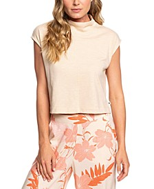 Cloudy Night Mock-Neck Cropped Top