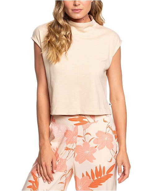 Roxy Cloudy Night Mock-Neck Cropped Top