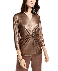 Metallic Twist-Front Top, Created for Macy's