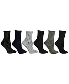 Women's 6 Pack Dot & Solid Crew Sock, Online Only